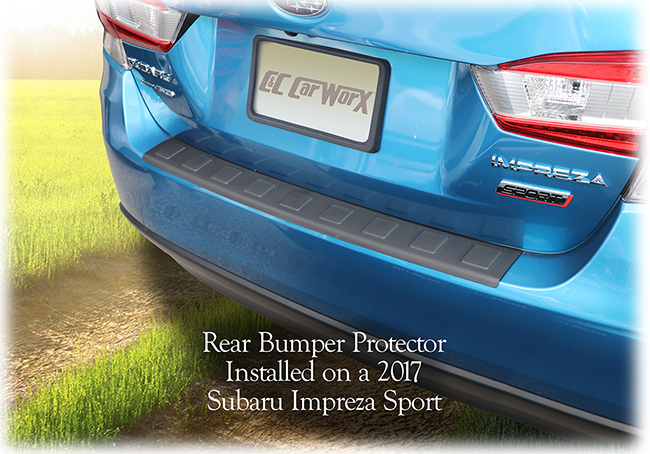 The C&C CarWorx Rear Bumper Protector is shown installed on a 2017, 2018, 2019 Subaru Impreza Sport model which it fits perfectly.