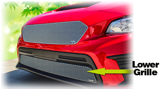 C&C CarWorx offers this aftermarket Lower Grille Insert for 2018-2019 Subaru WRX & STI available in silver and black by Grillcraft.