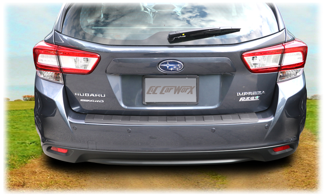C&C CarWorx Rear Bumper Cover to fit 2017, 2018, 2019 Subaru Impreza 5-Door Hatchback rear view on car