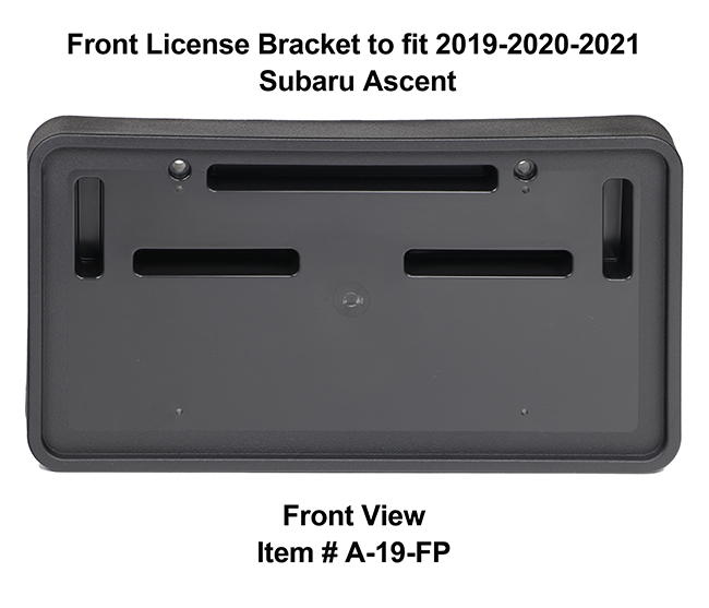 Front View of Front License Bracket A-19-FP to fit 2019-2020-2021 Subaru Ascent custom designed and manufactured by C&C CarWorx