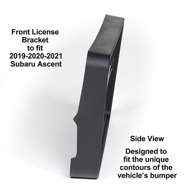 Diagonal View showing unique contours to fit snugly around your vehicle's bumper: Front License Bracket A-19-FP to fit 2019-2020-2021 Subaru Ascent custom designed and manufactured by C&C CarWorx