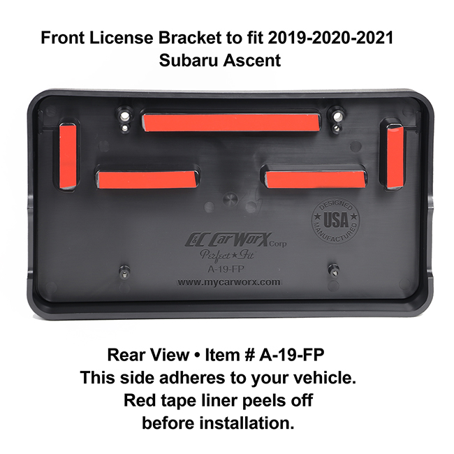 Rear View showing red tape liner which peels off before installation: Front License Bracket A-19-FP to fit 2019-2020-2021 Subaru Ascent custom designed and manufactured by C&C CarWorx