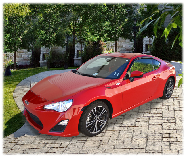 C&C CarWorx set of two Tape-On Outside-Mount Window Visor Rain Guards to fit 2013-2014 Subaru BRZ models