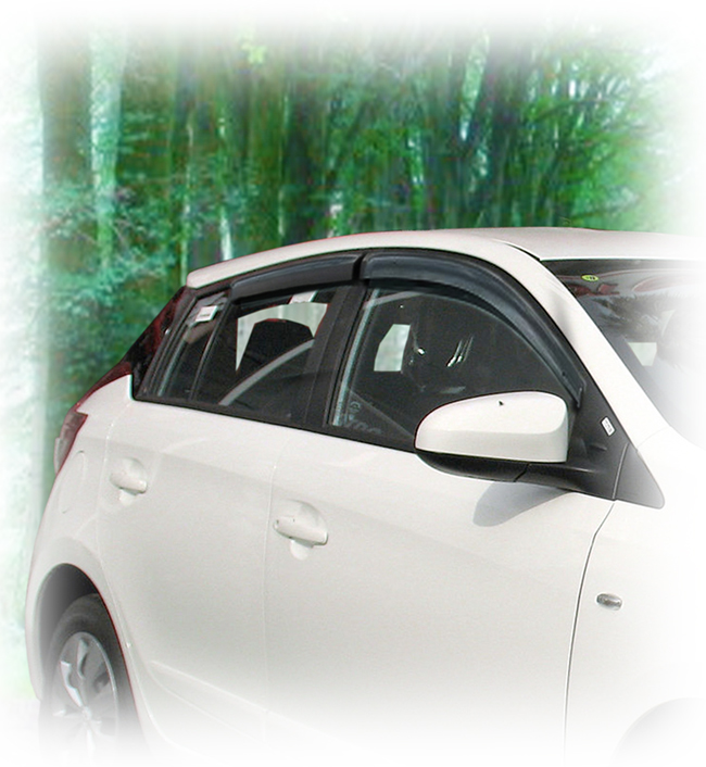 Customer testimonials confirm overwhelming satisfaction with the C&C CarWorx set of four Tape-On Outside-Mount Window Visor Rain Guards to fit 2013-14-15-16-17 Toyota Yaris/Vitz/Echo 5-Door Hatchback Models