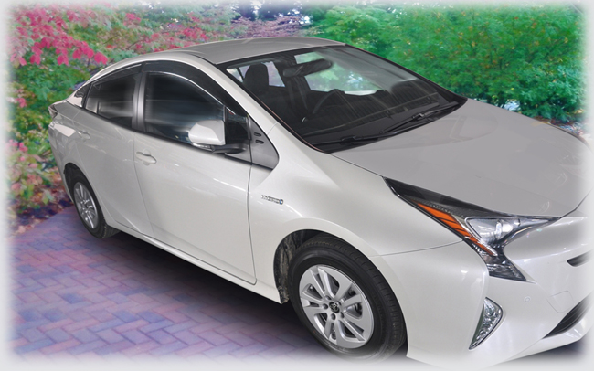 C&C CarWorx set of four Tape-On Outside-Mount Window Visor Rain Guards to fit 2016 Toyota Prius XW50 models