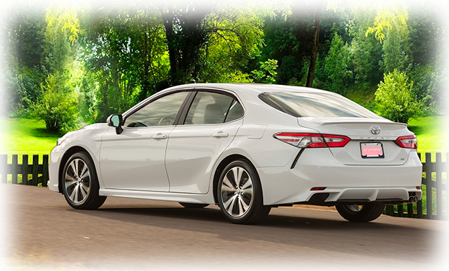 These high-quality aftermarket injection-molded tape-on window visor rain guards fit all models of the 2018, 2019, 2020 Toyota Camry.