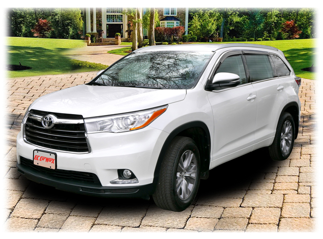 C&C CarWorx set of four Tape-On Outside-Mount Window Visor Rain Guards to fit 2014-2015-2016-2017 Toyota Highlander models