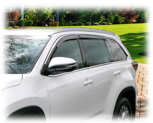 Customer testimonials confirm overwhelming satisfaction with the C&C CarWorx set of four Tape-On Outside-Mount Window Visor Rain Guards to fit 2014-2015-2016-2017-2018-2019 Toyota Highlander models