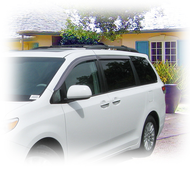 Customer testimonials confirm overwhelming satisfaction with the C&C CarWorx set of four Tape-On Outside-Mount Window Visor Rain Guards to fit 2011-12-13-14-15-16 Toyota Sienna models