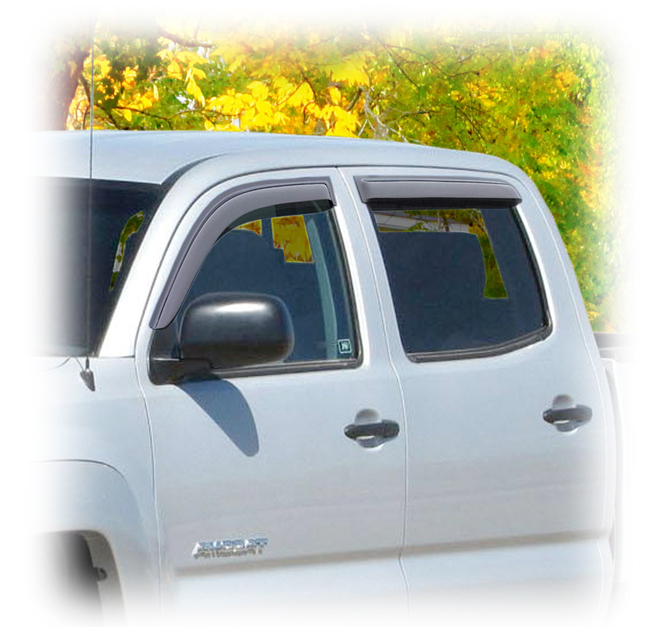 Customer testimonials confirm overwhelming satisfaction with the C&C CarWorx set of four Tape-On Outside-Mount Window Visor Rain Guards to fit 2005-06-07-08-09-10-11-12-13-14-15-16 Toyota® Tacoma® Double Cab