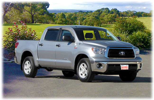 C&C CarWorx set of four Tape-On Outside-Mount Window Visor Rain Guards to fit 2007-08-09-10-11-12-13-14-15-16 Toyota Tundra CrewMax models