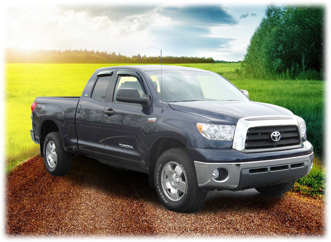 C&C CarWorx set of four Tape-On Outside-Mount Window Visor Rain Guards to fit 2007-08-09-10-11-12-13-14-15-16 Toyota Tundra Double Cab models