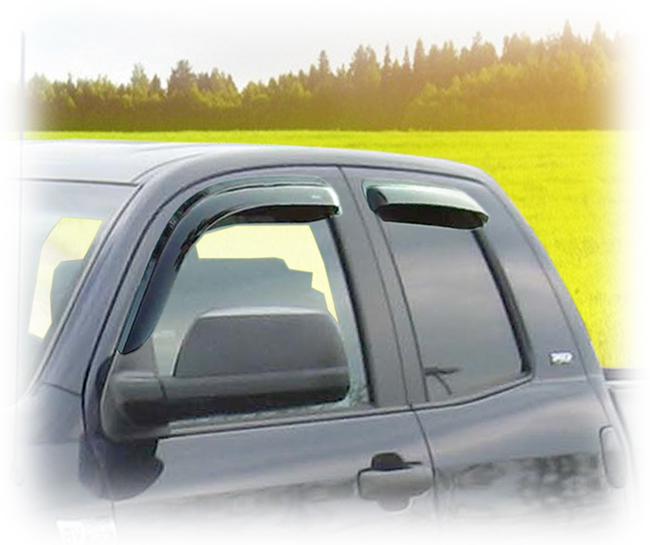 Customer testimonials confirm overwhelming satisfaction with the C&C CarWorx set of four Tape-On Outside-Mount Window Visor Rain Guards to fit 2007-08-09-10-11-12-13-14-15-16 Toyota Tundra Double Cab models