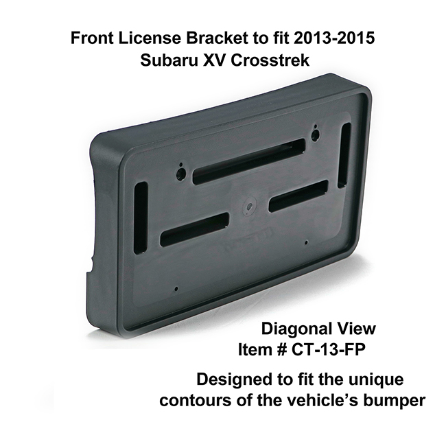 Diagonal View showing unique contours to fit snugly around your vehicle's bumper: Front License Bracket CT-13-FP to fit 2013-2015 Subaru XV Crosstrek custom designed and manufactured by C&C CarWorx