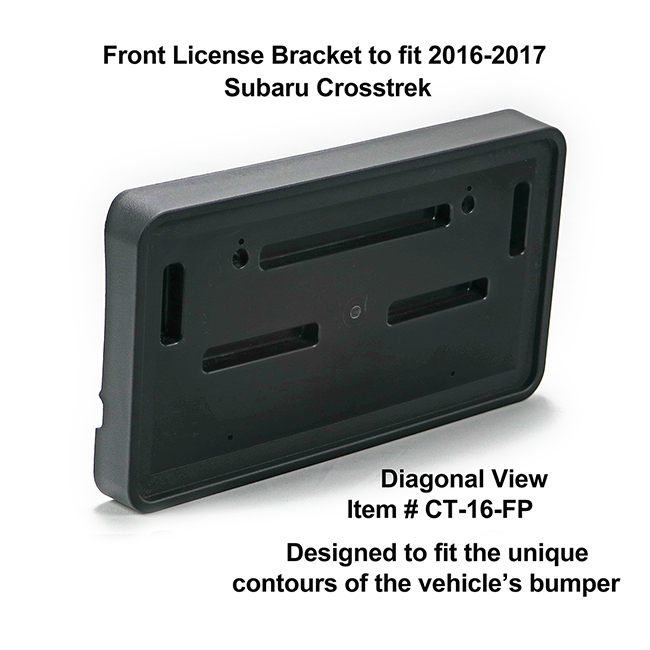 Diagonal View showing unique contours to fit snugly around your vehicle's bumper: Front License Bracket CT-16-FP to fit 2016-2017 Subaru Crosstrek custom designed and manufactured by C&C CarWorx
