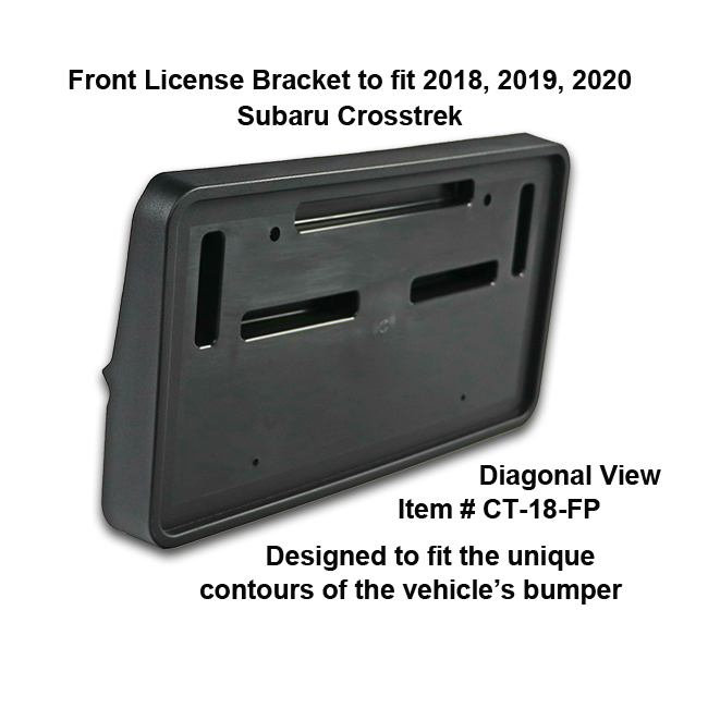 Diagonal View showing unique contours to fit snugly around your vehicle's bumper: Front License Bracket CT-18-FP to fit 2018-2019-2020 Subaru Crosstrek custom designed and manufactured by C&C CarWorx