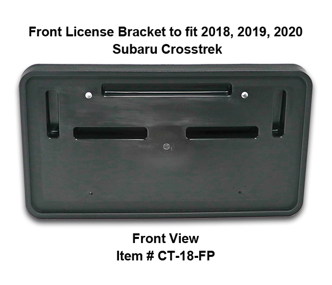 Front View of Front License Bracket CT-18-FP to fit 2018-2019-2020 Subaru Crosstrek custom designed and manufactured by C&C CarWorx