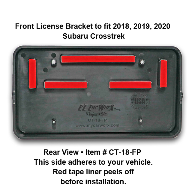 Rear View showing red tape liner which peels off before installation: Front License Bracket CT-18-FP to fit 2018-2019-2020 Subaru Crosstrek custom designed and manufactured by C&C CarWorx