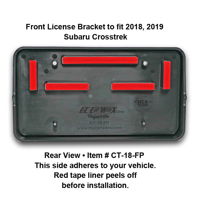 Rear View showing red tape liner which peels off before installation: Front License Bracket CT-18-FP to fit 2018-2019 Subaru Crosstrek custom designed and manufactured by C&C CarWorx