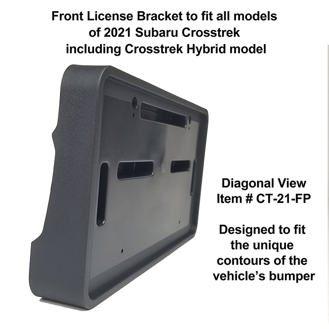Diagonal View showing unique contours to fit snugly around your vehicle's bumper: Front License Bracket CT-21-FP to fit all models of 2021 Subaru Crosstrek & Crosstrek Hybrid model 2021 custom designed and manufactured by C&C CarWorx