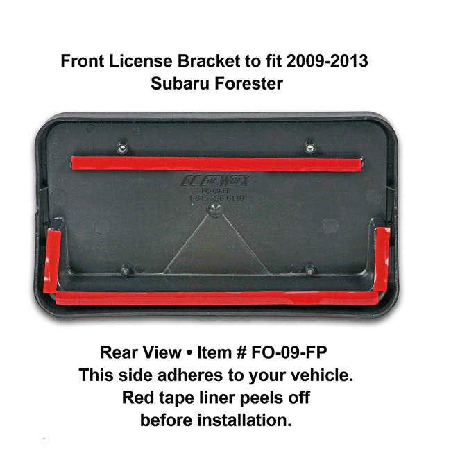 Rear View showing red tape liner which peels off before installation: Front License Bracket FO-09-FP to fit 2009-13 Subaru Forester