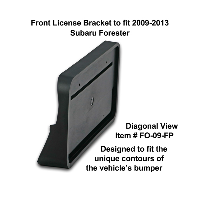 Diagonal View showing unique contours to fit snugly around your vehicle's bumper: Front License Bracket FO-09-FP to fit 2009-13 Subaru Forester