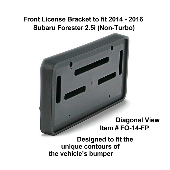 Diagonal View showing unique contours to fit snugly around your vehicle's bumper: Front License Bracket FO-14-FP to fit 2014-2016 Subaru Forester 2.5i (Non-Turbo) custom designed and manufactured by C&C CarWorx
