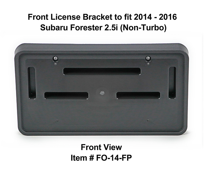 Front View of Front License Bracket FO-14-FP to fit 2014-2016 Subaru Forester 2.5i (Non-Turbo) custom designed and manufactured by C&C CarWorx