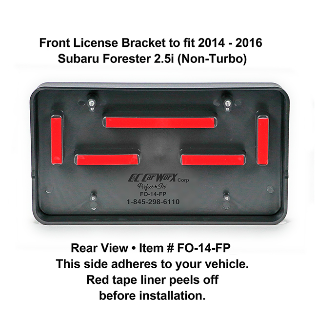 Rear View showing red tape liner which peels off before installation: Front License Bracket FO-14-FP to fit 2014-2016 Subaru Forester 2.5i (Non-Turbo) custom designed and manufactured by C&C CarWorx
