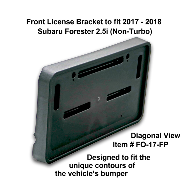 Diagonal View showing unique contours to fit snugly around your vehicle's bumper: Front License Bracket FO-17-FP to fit 2017-2018 Subaru Forester 2.5i (Non-Turbo) custom designed and manufactured by C&C CarWorx