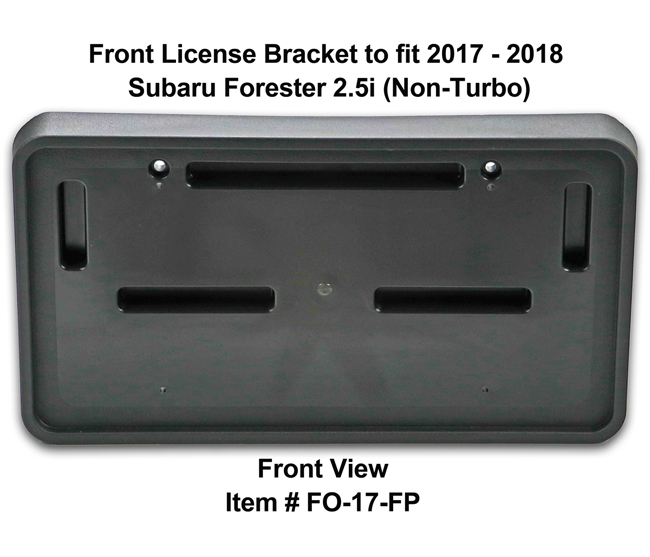 Front View of Front License Bracket FO-17-FP to fit 2017-2018 Subaru Forester 2.5i (Non-Turbo) custom designed and manufactured by C&C CarWorx