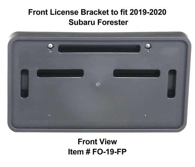 Front View of Front License Bracket FO-19-FP to fit 2019-2020 Subaru Forester custom designed and manufactured by C&C CarWorx