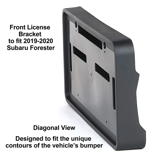 Diagonal View showing unique contours to fit snugly around your vehicle's bumper: Front License Bracket FO-19-FP to fit 2019-2020 Subaru Forester custom designed and manufactured by C&C CarWorx
