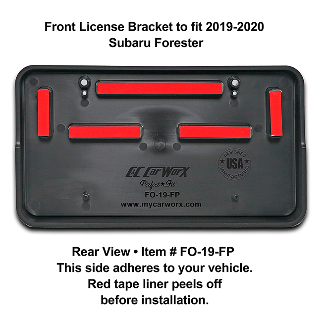Rear View showing red tape liner which peels off before installation: Front License Bracket FO-19-FP to fit 2019-2020 Subaru Forester custom designed and manufactured by C&C CarWorx