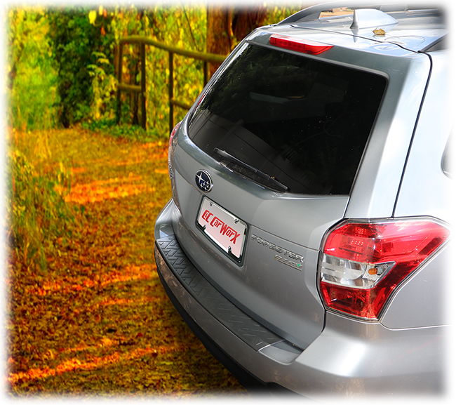 C&C CarWorx LONG Rear Bumper Pad, shown on a 2018 model, is designed to fit 2014-2018 Subaru Forester