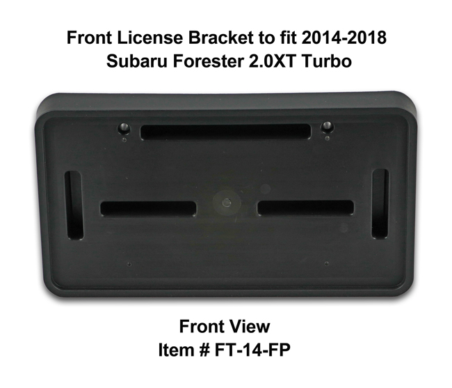 Front View of Front License Bracket FT-14-FP to fit 2014-2018 Subaru Forester 2.0XT (Turbo) custom designed and manufactured by C&C CarWorx