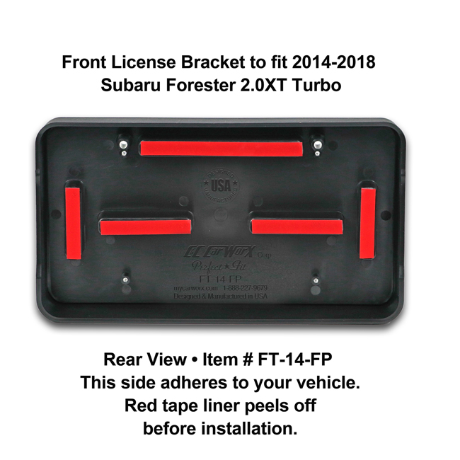 Rear View showing red tape liner which peels off before installation: Front License Bracket FT-14-FP to fit 2014-2018 Subaru Forester 2.0XT (Turbo) custom designed and manufactured by C&C CarWorx
