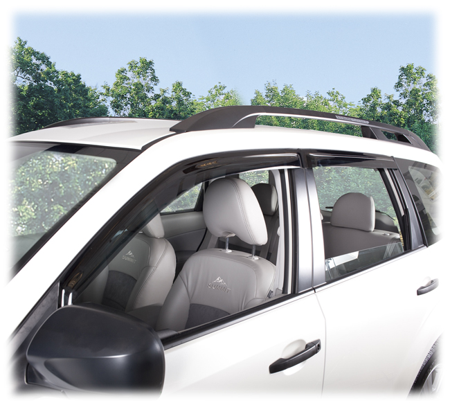 C&C CarWorx set of four Tape-On Outside-Mount Window Visor Rain Guards to fit 2009-10-11-12-13 Subaru Forester models