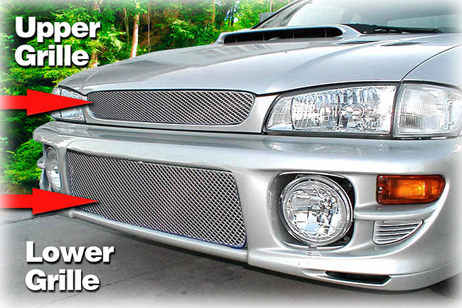 C&C CarWorx offers this set of Upper and Lower aftermarket grille inserts for 1999-2001 Subaru Impreza RS Model available in silver and black by Grillcraft.
