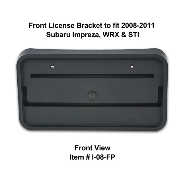 Front View of Front License Bracket I-08-FP to fit 2008-2011 Subaru Impreza, WRX and STI