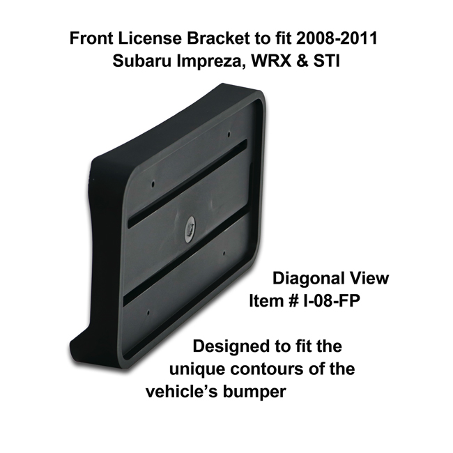 Diagonal View showing unique contours to fit snugly around your vehicle's bumper: Front License Bracket I-08-FP to fit 2008-2011 Subaru Impreza, WRX and STI