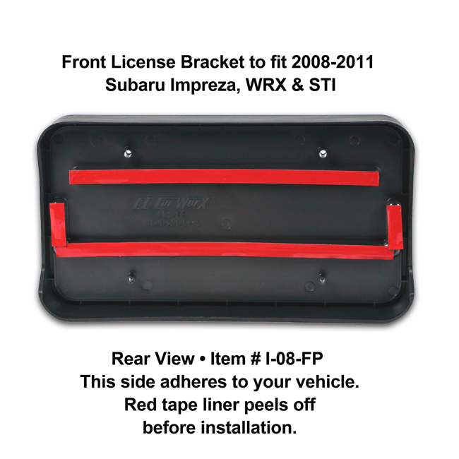 Rear View showing red tape liner which peels off before installation: Front License Bracket I-08-FP to fit 2008-2011 Subaru Impreza, WRX and STI