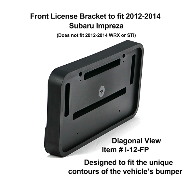 Diagonal View showing unique contours to fit snugly around your vehicle's bumper: Front License Bracket I-12-FP to fit 2012-2014 Subaru Impreza (Does not fit WRX or STI)