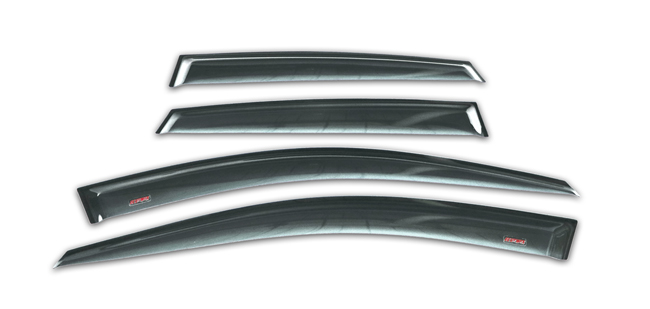Shown: Set of four WV-08I-TF-WRX-STI Tape-On Outside-Mount Window Visor Rain Guards to fit 2008-2014 Subaru WRX & STI Sedan models only