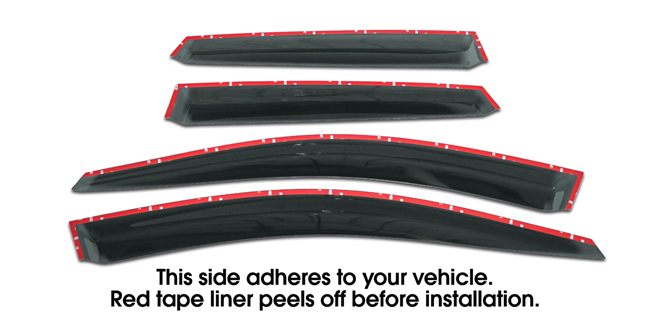 Shown with tape liner which peels off before installation: Set of four WV-08I-TF-WRX-STI Tape-On Outside-Mount Window Visor Rain Guards to fit 2008-2014 Subaru WRX & STI Sedan models only