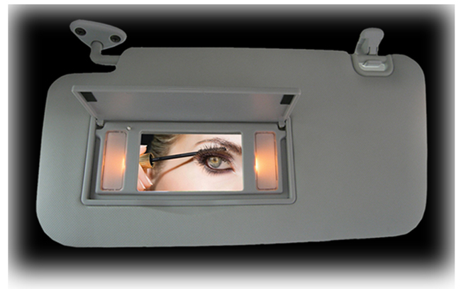 Illuminated Lighted Vanity Mirror Sun Visors for 2009, 2010, 2011, 2012, 2013 Subaru Forester.