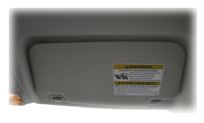 The 2009-13 Subaru Forester Illuminated Vanity Mirror Sun Visor in closed position where light is automatically turned off
