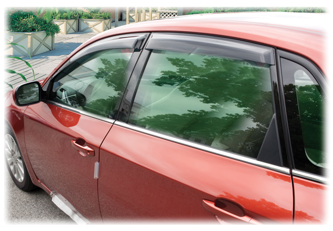 Set of 4 Tape-On Outside-Mount Window Visor Rain Guards to fit Hatchback and Sedan Models of         2008, 2009, 2010, 2011 Subaru Impreza
