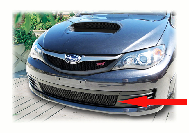 C&C CarWorx offers this aftermarket Lower Grille Insert to fit 2008-10 Subaru Impreza STI available in silver and black by Grillcraft.
