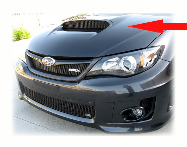 C&C CarWorx offers this aftermarket Hood Scoop Grille for 2008-2014 Subaru Impreza WRX available in silver and black by Grillcraft.